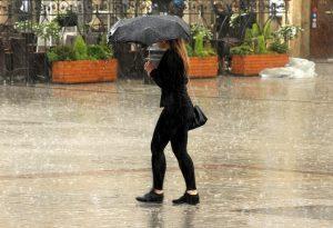 Frau im Regen mit Regenschirm