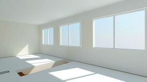 Weißer lerrer Raum mit Fenstern