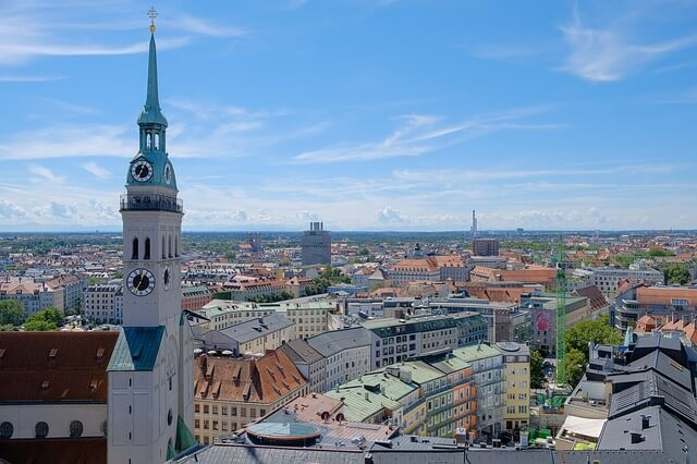 Luftbild der Innenstadt von München