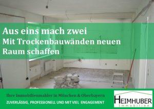 Raum mit Trockenbauwänden und Handwerksmaterialien